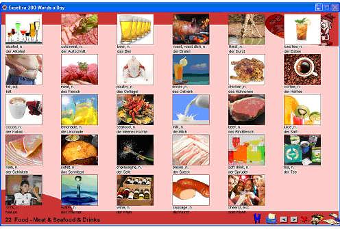 ...e-Flashcardz Summary Page Lesson 22: Food - Meat, Seafood and Drinks.